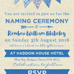Blue Bunting Naming Ceremony Day Invitation additional 3