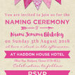 Pink Bunting Naming Ceremony Day Invitation additional 3