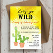 Let's Go Wild! / Cactus Birthday Party Invitation additional 2