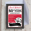 1960s Retro Rockabilly 50th / Golden Wedding Anniversary Invitation additional 2