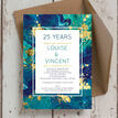 Teal & Gold Ink 25th / Silver Wedding Anniversary Invitation additional 3