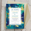 Teal & Gold Ink 25th / Silver Wedding Anniversary Invitation additional 2