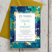 Teal & Gold Ink 25th / Silver Wedding Anniversary Invitation additional 1