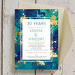 Teal & Gold Ink 30th / Pearl Wedding Anniversary Invitation additional 2