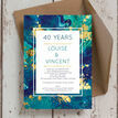 Teal & Gold Ink 40th / Ruby Wedding Anniversary Invitation additional 1