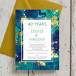 Teal & Gold Ink 40th / Ruby Wedding Anniversary Invitation additional 2