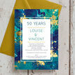 Teal & Gold Ink 50th / Golden Wedding Anniversary Invitation additional 3