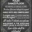 Chalkboard Wedding or Party Dance Floor Rules Poster additional 2