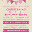 Vintage Pink Bunting Christening / Baptism Invitation additional 4
