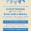 Vintage Blue Bunting Christening / Baptism Invitation additional 4