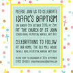 Pastel Confetti Personalised Christening / Baptism Invitation additional 4