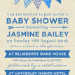 Vintage Blue Bunting Baby Shower Invitation additional 4