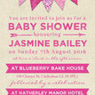 Vintage Pink Bunting Baby Shower Invitation additional 4