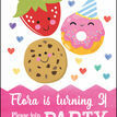 Cute Kawaii Donut, Cookie & Strawberry Party Invitation additional 5