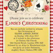 Alice in Wonderland Christening / Baptism Invitation additional 3