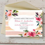 Pink Peony Watercolour Save the Date Card additional 2