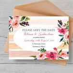 Pink Peony Watercolour Save the Date Card additional 3