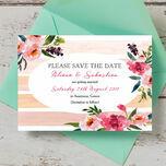 Pink Peony Watercolour Save the Date Card additional 1