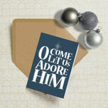 O Come Let Us Adore Him Typography Christmas Card additional 1