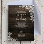 Rustic Wood & Lace Wedding Invitation additional 3