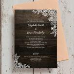 Rustic Wood & Lace Wedding Invitation additional 2