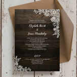 Rustic Wood & Lace Wedding Invitation additional 1
