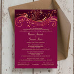 Burgundy & Rose Gold Indian / Asian Wedding Invitation additional 2