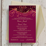 Burgundy & Rose Gold Indian / Asian Wedding Invitation additional 3