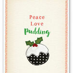 'Peace, Love, Pudding' Personalised Christmas Cards additional 2