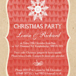 Rustic Red & Kraft Snowflake Personalised Christmas Party Invitations - Printed or Printable additional 2