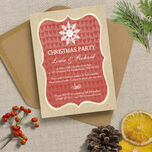 Rustic Red & Kraft Snowflake Personalised Christmas Party Invitations - Printed or Printable additional 1