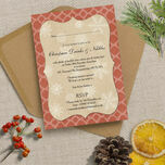 Rustic Red & Kraft Vintage Personalised Christmas Party Invitations - Printed or Printable additional 1