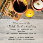 Mulled Wine & Mince Pies Personalised Christmas Party Invitations - Printed or Printable additional 2