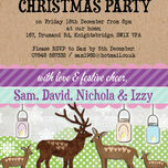 Personalised 'Woodland Deer' Christmas Party Invitations - Printed or Printable additional 2