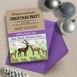 Personalised 'Woodland Deer' Christmas Party Invitations - Printed or Printable additional 1