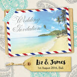 Exotic Beach Postcard Wedding Invitation additional 3