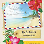 Tropical Beach Flowers Postcard Wedding Invitation additional 4