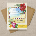 Tropical Beach Flowers Postcard Wedding Invitation additional 2
