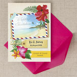 Tropical Beach Flowers Postcard Wedding Invitation additional 6