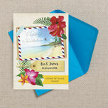 Tropical Beach Flowers Postcard Wedding Invitation additional 5