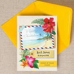 Tropical Beach Flowers Postcard Wedding Invitation additional 1
