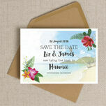 Tropical Beach Flowers Postcard Save the Date additional 3