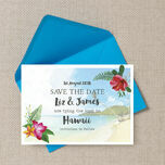 Tropical Beach Flowers Postcard Save the Date additional 2