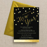 Black and Gold Confetti New Years Eve Party Invitation additional 2