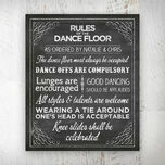 Chalkboard Wedding or Party Dance Floor Rules Poster additional 1