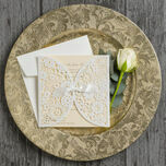 Vintage Lace Laser Cut Personalised Wedding Invitation additional 11