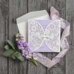 Vintage Lace Laser Cut Personalised Wedding Invitation additional 6
