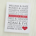 Personalised Famous Couples Valentine's Day Print additional 2