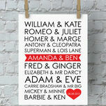Personalised Famous Couples Valentine's Day Print additional 1