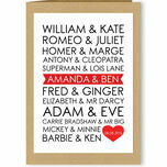 Personalised Famous Couples Valentine's Day Card additional 1
